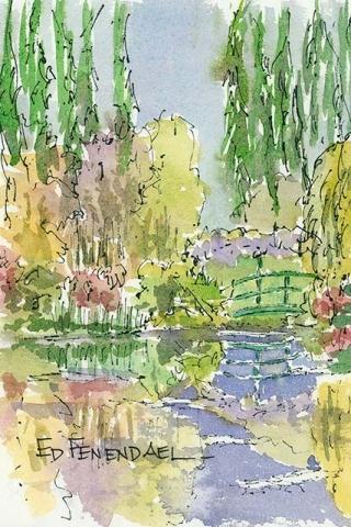The Waterlily Bridge - print by Ed Fenendael