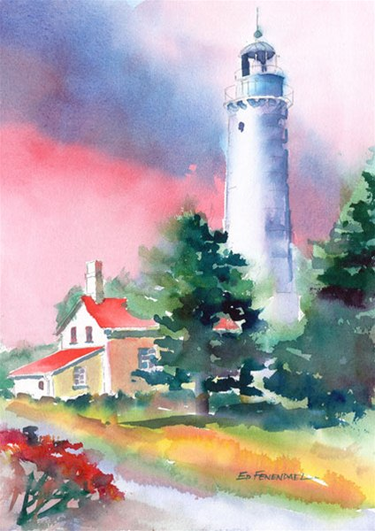 Cana Island Light House - print by Ed Fenendael