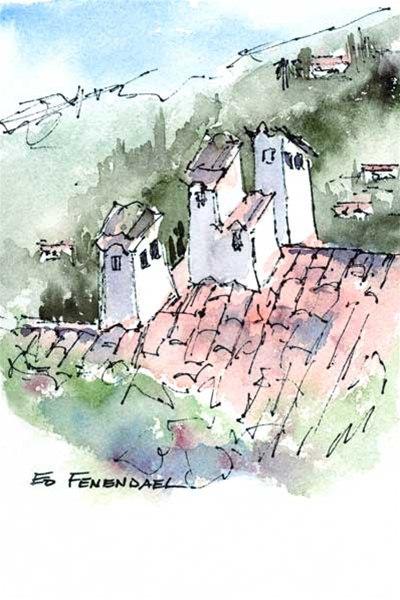 Chimneys - Bar sur Loup, France - print by Ed Fenendael