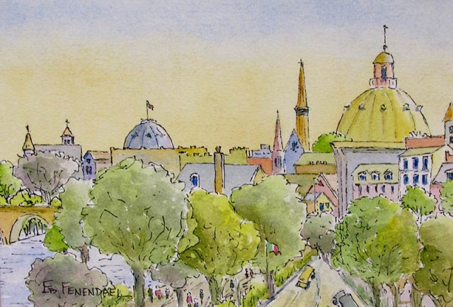 Glorious Domes - watercolor & ink by Ed Fenendael