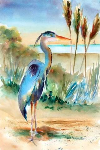 Gentle Heron - pring by Ed Fenendael