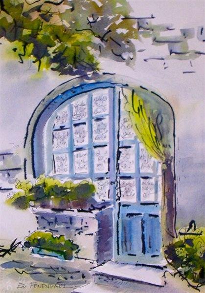 Lace - watercolor & ink by Ed Fenendael