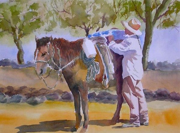Loading Up - watercolor by Ed Fenendael