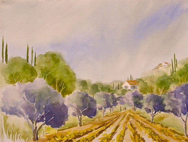 Olives & Grapes - watercolor by Ed Fenendael