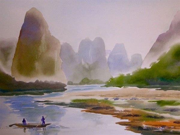 On the Li River - watercolor by Ed Fenendael