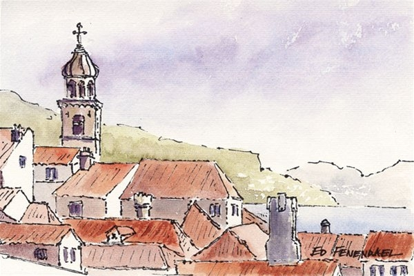 Over the Rooftops - Dubrovnik - print by Ed Fenendael