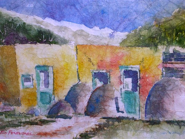 Quiet Pueblo - watercolor & masa by Ed Fenendael