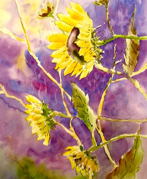 Reaching for the Sun - watercolor & ink by Ed Fenendael