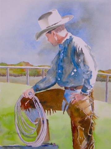 Ready to Rope - watercolor by Ed Fenendael