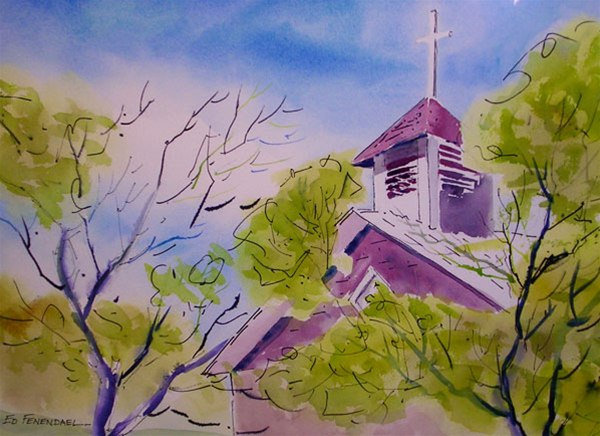 San Pedro - watercolor by Ed Fenendael