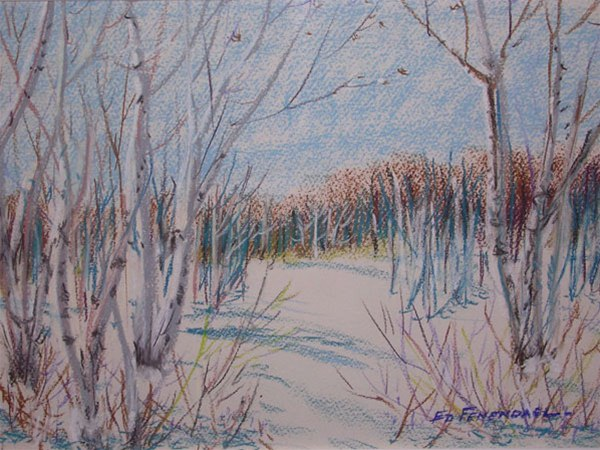 The Birches - pastel by Ed Fenendael