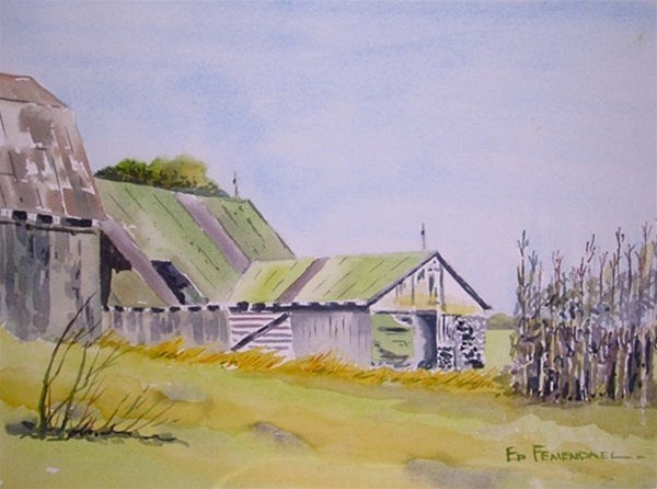 The Corn Patch - watercolor by Ed Fenendael