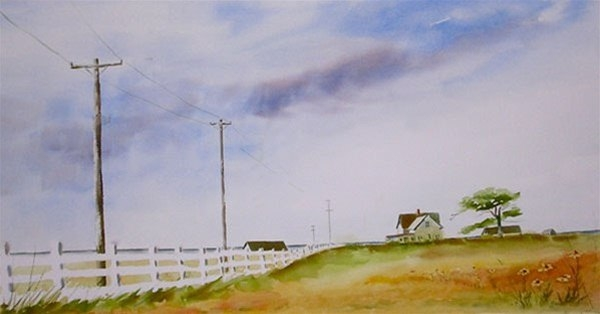The Old Fence - watercolor by Ed Fenendael