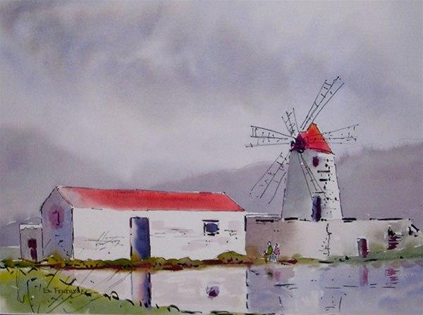 The Salt Flats - watercolor & ink by Ed Fenendael