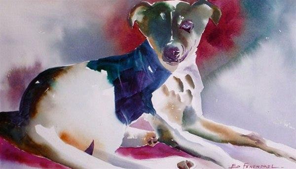 Top Dog - watercolor by Ed Fenendael