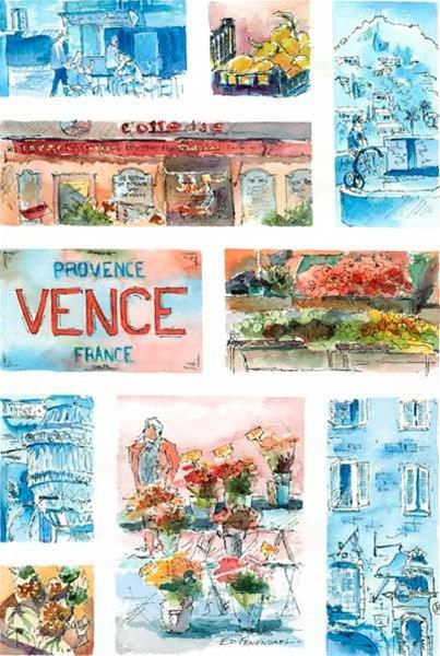 Scenes of Vence - print by Ed Fenendael