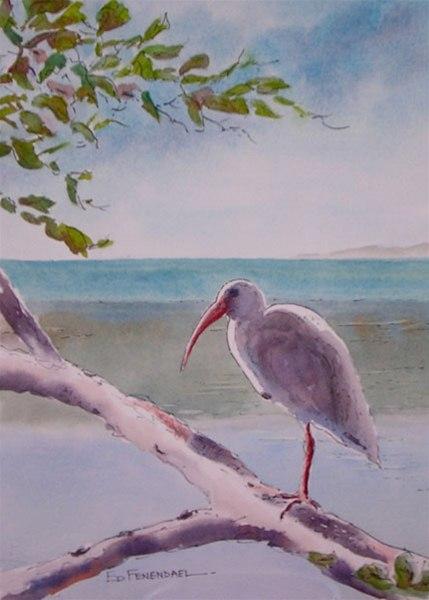 Waiting - watercolor & ink by Ed Fenendael