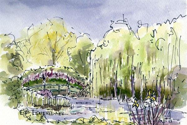 Water Lily Garden, Monet - print by Ed Fenendael