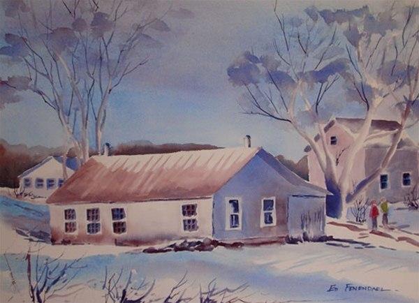 Winter Joy watercolor by Ed Fenendael