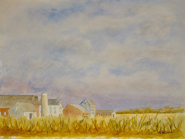 Early Morning on the Farm - Watercolor Painting