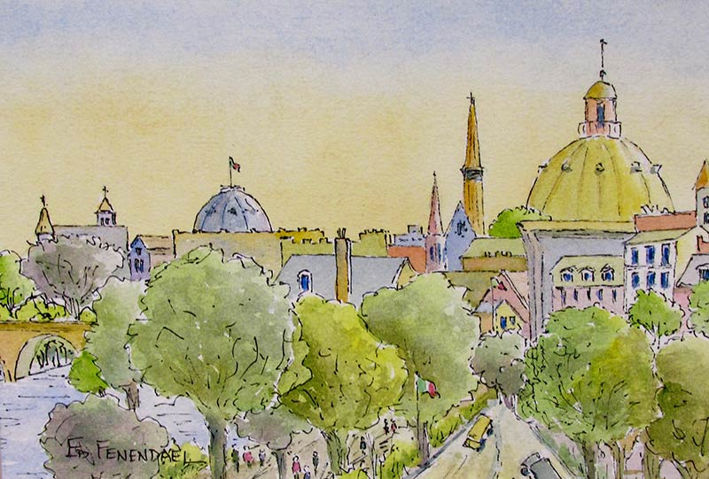 Glorious Domes - Watercolor & Ink