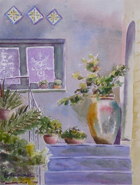 Lace in the Window - watercolor by Ed Fenendael