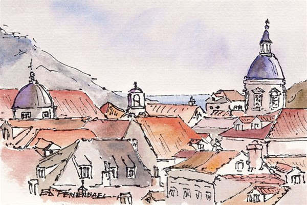 Looking to the Sea - Dubrovnik - print by Ed Fenendael