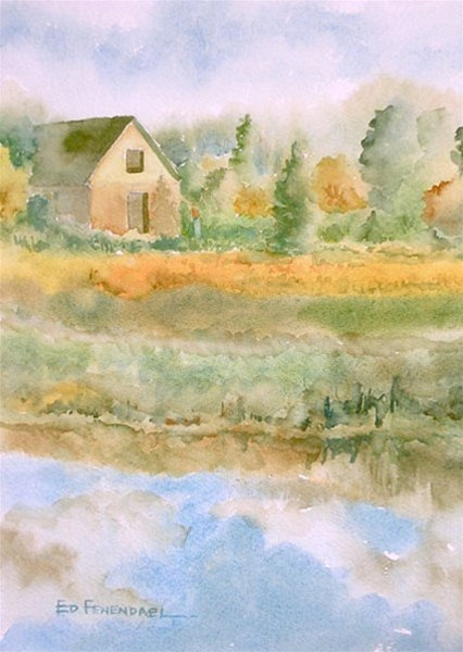 Passing Clouds - watercolor by Ed Fenendael