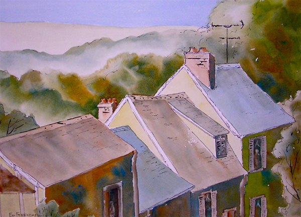 Rooftops - watercolor & ink by Ed Fenendael