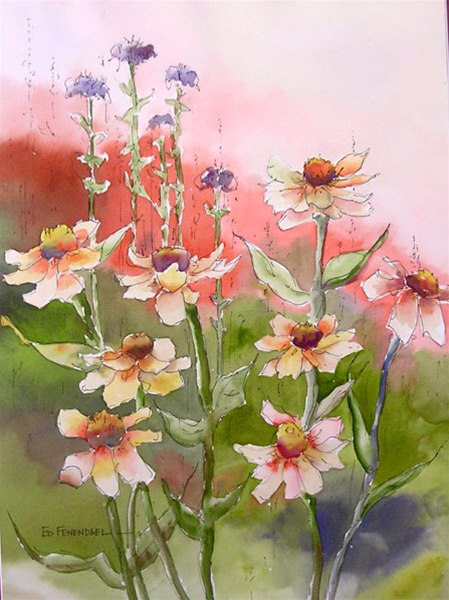 Summer's Dance 4 - watercolor & ink by Ed Fenendael