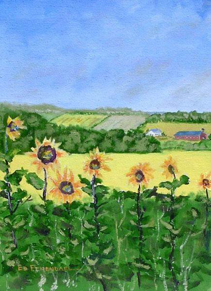 Sunflower Farm - oil painting by Ed Fenendael