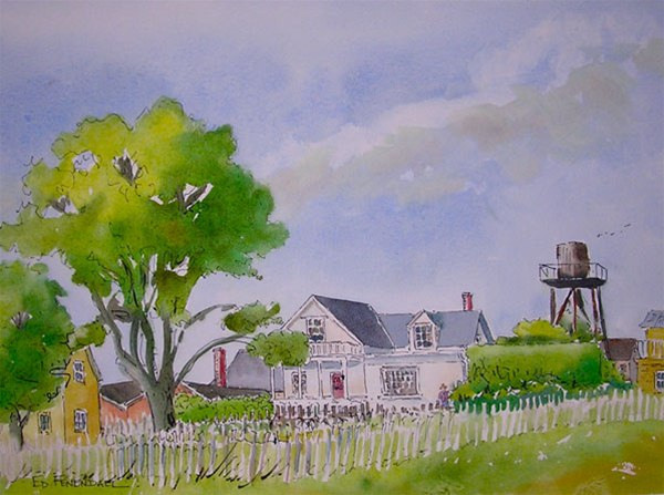 The Water Tower - watercolor & ink by Ed Fenendael