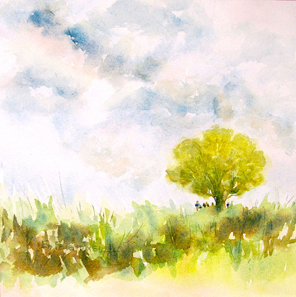 Under the Old Oak Tree - watercolor by Ed Fenendael