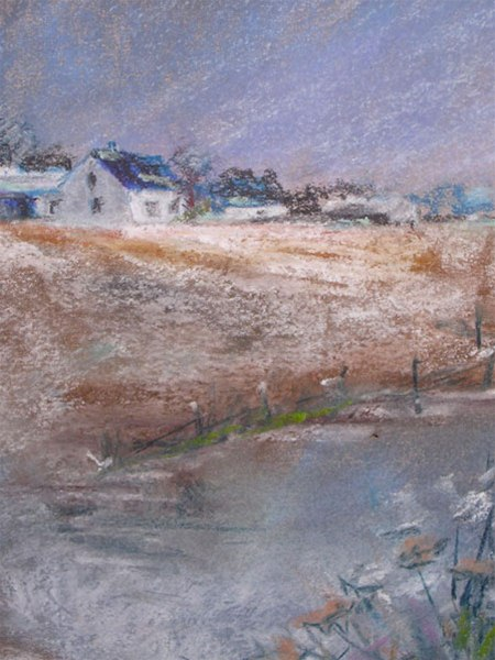 Winter at the Farm - pastel by Ed Fenendael